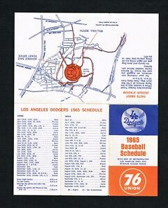 1965 Los Angeles Dodgers Union 76 Oil Baseball Pocket Schedule