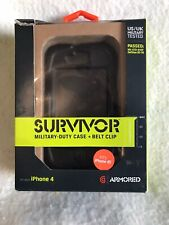 Survivor I Phone 4 And 4S Military Duty Case And Belt Clip Black