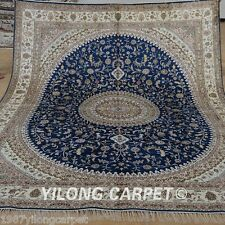 Yilong 8'x10' Big Blue Silk Area Rug Handknotted Medallion Carpets Handmade 1263