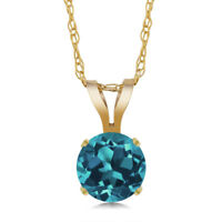 0.50 Ct Round London Blue Topaz 14K Yellow Gold Pendant With Chain