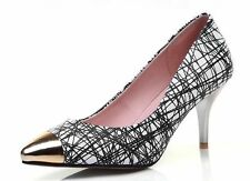 Striped Leather Pumps, Classics Heels for Women