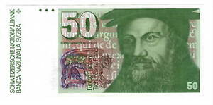 SWITZERLAND 50 Franc XF/AU Banknote (1978) P-56a Prefix 78N Paper Money