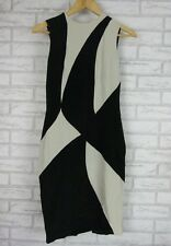 ARTHUR GALAN Pencil Dress Sz 8 Black, Gray Print Exposed Zip 100% Silk