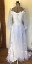 Vintage Handmade Bridal Wedding Dress Off The Shoulder Lace Sweetheart Sheer