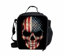 US Flag Skull Pattern Insulated Lunch Bag Protable School Lunch Cooler Box Tote