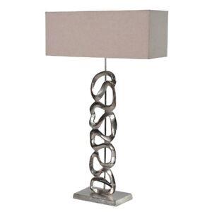 Large Statement Silver Chrome Scroll Aluminium Art lamp  Beige Shade
