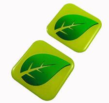 "Green Leaf  flag Square Domed Decal Eco ev hybrid car bike gel stickers 1.5"" 2pc"