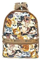 LeSportsac Cat Cafe Bene Basic Backpack/Rucksack, Free Ship NWT Colorful Cats