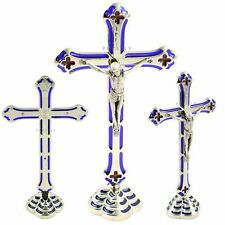 More details for standing cross crucifix metal jesus christ silver blue religious catholic gift