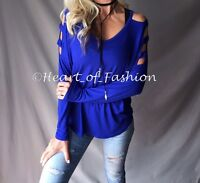 Women's Royal Blue Cold Shoulder Ladder Cutout Sleeve Relaxed Casual V-Neck Top