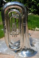 BASS TUBE Bb MANCHESTER BRASS CLASS A,SILVER,READY TO PLAY/ BASSO TUBA ARGENTATO
