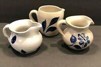 Vintage Williamsburg Pottery Salt Glaze Stoneware 3 Mini Cobalt Blue Pitchers
