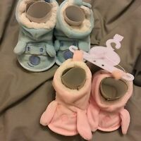 BABY GIRLS BOYS SOFT SLIPPERS BOOTS BOOTIES PINK BLUE 0-12 Mths Ears & Eyes