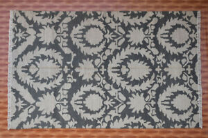 Traditional Design Green Colors Floral Rug Dhurrie Wool Kilim Floor Mat 5'x8' ft