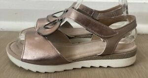 Ladies Gabor Leather Strappy Sandals. Size 6G. Silver. Comfort. IMMACULATE