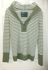 American Eagle Jrs Sz L Olive Striped Thermal Hooded Long Sleeve Shirt EUC