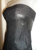 bebe 00 Dress Black Silver Metallic Wool Genuine Leather Panels Strapless Mini