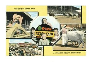 Wisconsin State Fair Ad Postcard Milwaukee, Wisconsin pm 1947