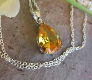 Citrine pendant necklace sterling silver teardrop yellow citrine jewellery.