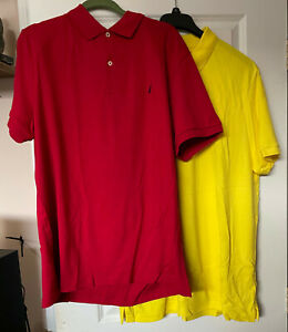 2 Nautica cotton golf shirts XXL slim fit red and yellow NWOT