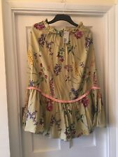 New H&M Green & Floral Vintage Look Summer Midi Skirt,14