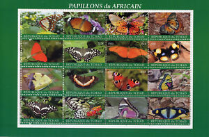 Chad Butterfly Stamps 2018 MNH Butterflies of Africa Insects 16v M/S