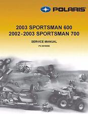 Polaris Repair Service Workshop Shop Manual Book 2003 Sportsman 700