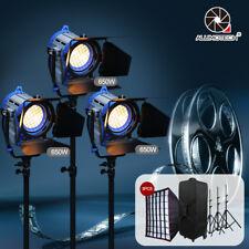 Pro Film Fresnel Tungsten light Video Studio(650W+Air Stand+Softbox+Bulb)*3+Case