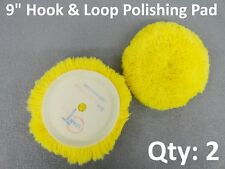 """Qty: 2 Wool Blend 9"""" Polishing Compound Clean Tech Buffing Pads 6"""" Hook & Loop"""