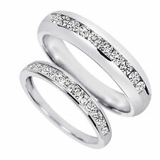 7/8 Ct Genuine Diamond His And Hers Wedding Band Set 10K White Gold