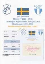 ROLF BJORKLUND MALMO FF 1960-1970 SWEDEN INTL ORIGINAL AUTOGRAPH CUTTING