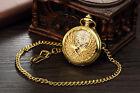 Vintage Steampunk Skeleton Pocket Watch Hollow Mechanical Men Women Windup Gold