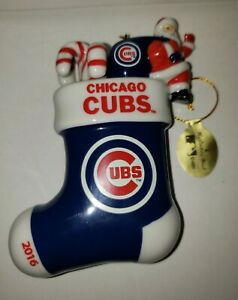DANBURY MINT Chicago CUBS 2016 Santa Stocking Candy Canes Christmas Ornament