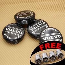 4PC SET OF 4 VOLVO BLACK CENTER WHEEL HUB CAP COVER LOGO RIMS 3546923 US SELLER