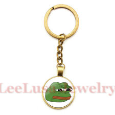 "Pepe ""Feels Bad Man"" Enamel Keyring On Brass Key Chain & 34 Pepe Stickers Frog"