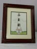 Vintage Weiss 1985 Matted Framed Bodie Island Lighthouse Art Print Nautical
