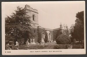 Postcard Old Wolverton Milton Keynes the Holy Trinity Church posted 1927 RP WHS