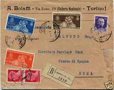 REGNO, BUSTA A. BOLAFFI, RACCOMANDATA DA TORINO, 1930, 6 FRANCOBOLLI MISTI    m