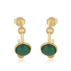 Green Onyx Gemstone 14k Gold Plated Silver Hoop Fashion Earrings Jewelry