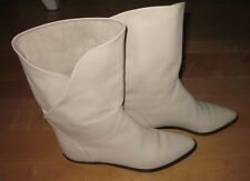 Vintage Bandolino Ivory Western Leather Boots 6.5 AA Made In Italy