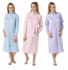 women Ladies Lightweight  Zip / BUTTON dressing gown housecoat Robe mock quilt