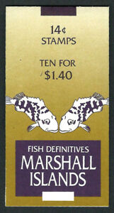 MARSHALL ISLANDS, SCOTT # 170A, BOOKLET OF 10 - 14¢ HAWKFISH FISH DEFINITIES MNH