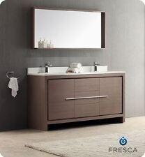 """Fresca Allier 60"""" Gray Oak Modern Double Sink Bathroom Vanity w/Mirror + Faucets"""