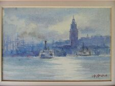 Charles Peter Neilson Listed California Watercolor-Circa 1900 San Francisco