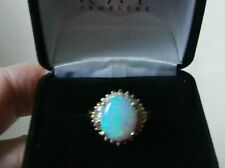 RP 14K Ring - Lab Created Opal with Diamond Accents - Yellow Gold  appr. Size 8
