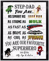 Personalised STEP-DAD SUPERHERO Christmas Birthday Gift Present For Him A4 xmas