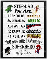 Personalised Step Dad Superhero Christmas Birthday Gift Present For Him A4 Xmas