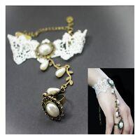 Spitzen Armband im VICTORIAN Style Barock Gothic Lolita Ring Kettchen