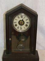 Antique Wooden Mantel Clock for Repair