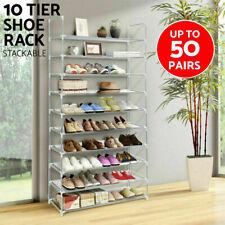 10 Tier 50 Pair Space Saving Storage Organizer Shelf Wall Shoes Tower Rack Stand